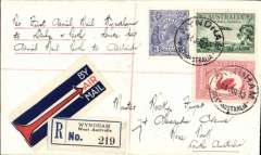 "(Australia) F/F Wyndham to Perth via Derby, bs Perth 21/7, then on th Adelaide bs 23/7, reg (label) cover franked  7 1/2d, ms ""Per First Aerial Mail/yndham to Derby and Perth, thence per/Aerial Mail Perth to Adelaide"", Western Australian AW Ltd.."