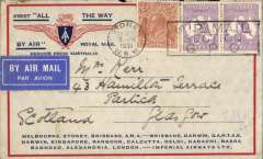 """(Australia) Sydney to London, flown on return of first experimental flight England-Australia, franked 1/11d , no arrival ds (applied to registered mail only, see Eus 188), violet souvenir cachet verso, printed """"All The Way"""" cover with IAW winged logo and route details, Qantas/Imperial Airways."""