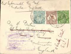 """(Australia) Parliament House, Canberra to the House of Commons, London, bs 'House of Commons SW1/15 MY 31"""", flown on return of first Qantas/Imperial Airways experimental flight England-Australia, cover with blue 'House of Representatives/Australia' and coat of arms  logo on flap, franked 1d,6d, 1/4d perf 'OS' official stamps, violet souvenir flight cachet on front,  Contains an original note of greetings from P.E.Coleman, MHR (Member of House of Representatives) on official blue/cream notepaper headed 'The Parliament of the Commonwealth/House of Representatives/Canberra' and with an elaborate coat of arms. A most uncommon and interesting item.  Parliament of the Commonwealth, Canberra"""