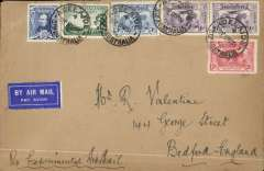 (Australia) Adelaide to London, no arrival ds, flown on return of first experimental flight England-Australia, plain cover franked 1931 Kingsford Smith 2d, 3d, 6d x2, + 1929 3d air and Sturt Centenary 3d (cat SG £42 used), violet souvenir cachet verso, Qantas/Imperial Airways