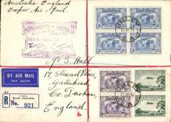 (Australia) Unley, S. Australia to London, no arrival ds, via Adelaide 21/4, flown on return of first experimental flight England-Australia, registered (label) cover franked 1931 Kingsford Smith 3d block of 4, 6d x2 and 1929 3d air x2, violet souvenir cachet on front, Qantas/Imperial Airways.