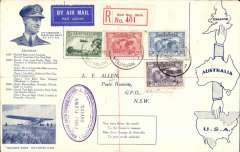 (Australia) Kingsford Smith 1931 set of 3 with an additional 1929 3d air on blue/cream souvenir FDC with inset head and shoulders of Kingsford Smith, a list of his flight records 1927-30, and a picture of 'Southern Cross', bs Melbourne 18/4 and Sydney 19/3, Francis Field authentiction hs verso. Not often seen.