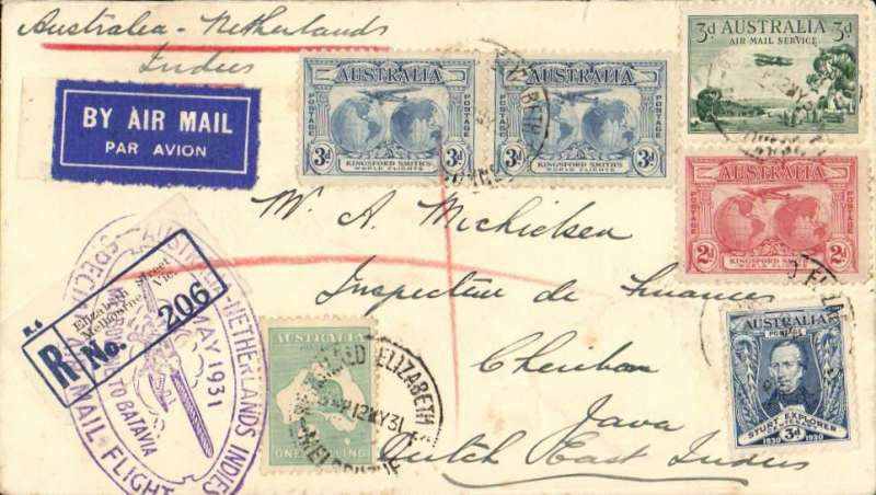 (Australia) KLM return flight Melbourne(24/5) to Cheribon, Java, bs 28/5, via Sydney 22/5, Batavia (Abel Tasman/Batavia-Centrum 27/5 cachet) verso, special oval Melbourne to Batavia violet cachet on front, registered (label) cover franked , high 2/2d franking.