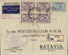 (Australia) KLM return flight Melbourne(24/5) to Batavia bs 27/5, special oval Melbourne to Batavia violet cachet on front, registered (label) printed Bank of Australasia, Bendigo, corner cover franked block of four 1931 Kingsford Smith 1931 6d and 3d x2 airs (total cat SG £57).