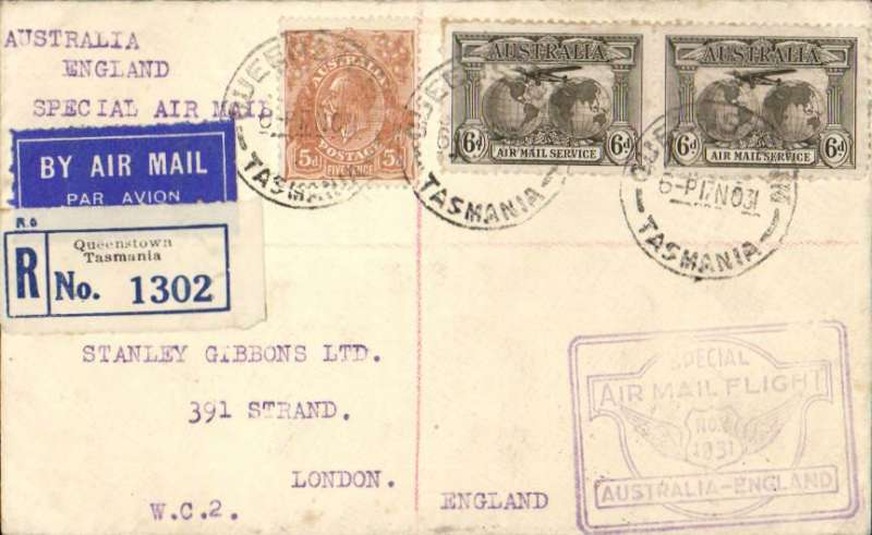 "(Tasmania) Hobart to England, bs 17/12, one of a small minority of mail carried the full length of the first All Australian Airmail from Tasmania to England,  registered (label) cover franked 1931 Kingsford Smith 6d 'Air Mail Service' x2 and 5d, special framed violet ""winged"" flight cachet. Plane crashed at Alor Star, then carried by Kingsford Smith to London."