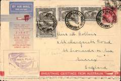 "(Australia) Melbourne to England, no arrival ds (only a few were b/s in London, see Eustis #222), carried on the first All Australian Airmail to England, souvenir greetings cover 19x12cm, franked 2/2d inc SG 139 x4 (SG 139 Cat £12 each used), special violet winged"" cachet,  Plane crashed at Alor Star, then carried by Kingsford Smith to London."