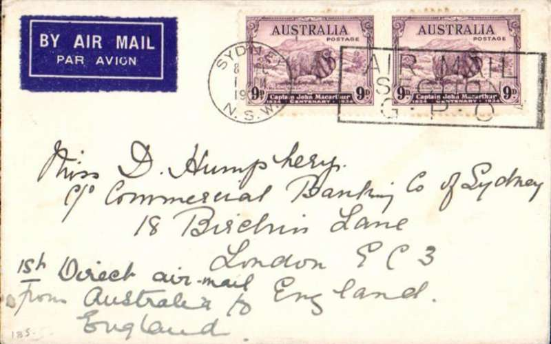 (Australia) First regular Imperial Airways/Qantas Australia-England service, Sydney to London, no arrival ds, airmail etiquette cover franked 1934 Macarthur 9d x2 (SG cat £45 each used), canc Sydney cds, ms '1st Direct air mail/from Australia to/England'.