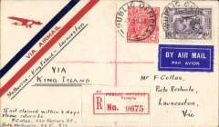 "(Australia) Mathews Aviation Co, F/F Melbourne to Launceston, b/s 25/8, registered (red 'Public Offices/Victoria' label) cover franked 1931 6d air (SG 139) + 2d, canc PUBLIC OFFICES/Victoria cds, ms ""Melbourne-King Island-Launceston/via King Island"". An unusual and interesting item - govt offices origin, small mail, and flown by amphibian 'Windhover' piloted by M.Chapman."