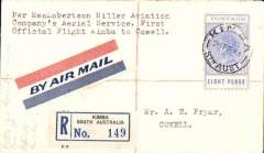 (Australia) MacRobertson-Miller Aviation Co, first official flight from Kimba to Cowell, bs 23/2, registered (label) airmail etiquette cover franked South  Australia 8d, canc Kimba cds.