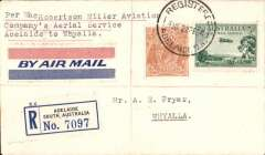 (Australia) MacRobertson-Miller Aviation Co, first official flight from Adelaide to Whyalla, bs 23/2, registered (label) cover franked South  Australia 8d, canc Registered/Adeliade cds, 1929 red/white/blue WAA label.