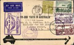 """(Australia) """"Faith in Australia"""", first official airmail Australia-New Zealand, bs Kaitaia 9/4 and return, official black/cream 'VH-UXX Faith in Australia' souvenir cover franked 9d, franked Australia 7d canc Sydney machine cancel, and Auckland 12/4 cds, violet winged """"First Official Air Mail/ Australia-New Zealand"""" and """"Trans Tasman/New Zealand-Austalia"""" cachets."""