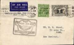 """(Australia) """"Faith in Australia"""", first official airmail Australia-New Zealand, Melbourne to Christchurch, bs 12/4, plain airmail etiquette cover correctly rated 7d, inc  1931 6d 'OS' opt (SG 139a cat £55 used), uncommon BLACK winged """"First Official Air Mail"""" Australia-New Zealand flight cachet."""