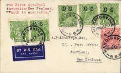 "(Australia) 'Faith in Australia' F/F Australia to New Zealnd, bs Auckland 12/4, plain cover franked 7d inc 1d 'OS' opts x4 and 1d 'OS' perfin, fine strike ""First Official Air Mail/Australia-New Zealand"" flight cachet verso."