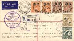 """(Australia) Sydney to Lae, bs 27/7, and return, flown  Austalia to New Guinea by Ulm in """"Faith of Australia"""", Australia and New Guinea cachets, franked Australia SG 5d 'OS' x2 and 1/2 'OS' x2, and  NG 6d air Mail opts and 5 (SG 169, 170 cat £37 used), latter canc 30/7 for return, Sydney 1/8 arrival ds, registered (label) cover."""