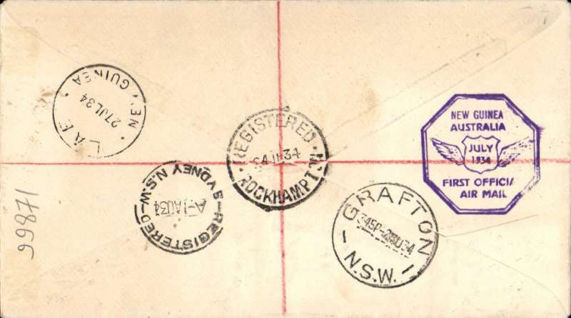 "(Australia) Sydney to Lae, bs 27/7, and return, flown  Austalia to New Guinea by Ulm in ""Faith of Australia"", Australia and New Guinea cachets, franked Australia SG 5d 'OS' x2 and 1/2 'OS' x2, and  NG 6d air Mail opts and 5 (SG 169, 170 cat £37 used), latter canc 30/7 for return, Sydney 1/8 arrival ds, registered (label) cover."