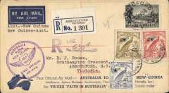 "(Australia) Melbourne to Lae, bs 27/7, and return, flown  Australia to New Guinea by Ulm in ""Faith of Australia"", registered (label) souvenir ""Per VH-UXX Faith In Australia""cover franked Australia 1/- (SG 149 cat £20 used)) and  NG 2d,3d and 6d air Mail opts (SG 166, 167 and 170 cat £36 used), latter canc Lae 30/7 for return, Melbourne 2/8 1/8 arrival ds,  Australia and New Guinea cachets."