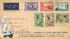 """(Australia) First official airmail, Australia-Papua New Guinea, Melbourne to Lae, bs 26/7, and first return,  souvenir """"Boomerang"""", """"Per VH-UXX Faith In Australia""""cover franked Australia 11 1/2 inc 6 air (SG 123) and New Guinea 1d,4d and 6d 'Air Mail' opt (SG 126,129,130b cat £75 used) for return to Melbourne, 2/8, violet circular """"Australia/Papua and New Guinea"""" and purple hexagonal """"Papua/Australia"""" cachets verso."""