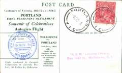 (Australia) Centenary Victoria Exhibition Autogiro Flight, green/cream souvenir PPC, franked 1 1/2d, canc Portland Vic cds, special blue double ring flight cachet.