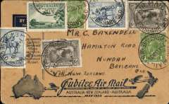 (Australia) Interrupted Kingsford Smith and Taylor Southern Cross Jubilee Air Mail flight from Sydney-New Zealand, Brisbane to Wellington bs 23/5 within a single line circle, dark blue/buff souvenir cover franked 2/2d inc SG 139 x2 and SG 157 x3, canc Brisbane cds. Turned back half way across Tasman due to engine trouble and 97% of original cargo was jettisoned over the sea. Plane returned to Mascot Aerodrome and surviving covers carried by ship to Wellington. The Wellington bs 23/5 within a single line circle is the only true authentication of genuinely flown covers on this flight.