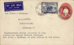 """(Australia) MacRobertson Miller Aviation/Australian Aerial Medical Services reopening of Ord River-Wyndham service, plain cover addressed to EA Crome, 2d PSE with additional 3d canc Wyndham/West Australia 11/7/35 cds, dark blue/white etiquette, typed """"MacRobertson Miller Aviation Co Ltd/Australian Aerial Medical Service/Ord River-Wyndham/No post office at Ord River"""".   The plane left Wyndham on the 9th, collected mail from Ord River, and returned on to Wynham on the 11th when this cover was cancelled."""
