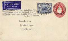 "(Australia) MacRobertson Miller Aviation/Australian Aerial Medical Services reopening of Ord River-Wyndham service, plain cover addressed to EA Crome, 2d PSE with additional 3d canc Wyndham/West Australia 9/7/35 cds, dark blue/white etiquette, typed ""MacRobertson Miller Aviation/Australian Aerial Medical Service/Wyndham-Ivanhoe/Cattle Station/No post office"".   The plane left Wyndham on the 9th, collected mail from Ord River, and returned on to Wynham on the 11th when this cover was cancelled."