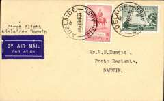 "(Australia) Australian Transcontinental Airways, F/F Adelaide to Darwin, bs 20/8, franked Australia 3d & 2d, canc Adelaide 19 Aug 1935 cds, typed ""First Flight/Adelaide-Darwin""."