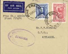 "(Australia) Australian Transcontinental Airways, F/F Pine Creek to Adelaide, bs 26/8, franked Australia 3d  & 2d, canc Pine Creek 22 Aug 1935 cds, typed ""Pine Creek to Adelaide""."