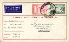(Australia) New England Airways Ltd, F/F Townsville to Rockhampton, bs 17/9, and on to Maryborough 18/9, carried on the F/F Brisbane-Townsville service, red/cream 'First Official Airmail' souvenir cover franked 3d air and 2d.