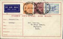 (Australia) New England Airways Ltd, F/F Townsville to Sydney, bs 18/9, carried on the F/F Brisbane-Townsville service, red/cream 'First Official Airmail' souvenir cover franked 5d.