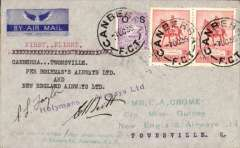 "(Australia) Holymans Airways Ltd, F/F Canberra to Townsville, bs 10/10, via Brisbane 8/10, attractive blue/grey imprint airmail etiquette cover addressed to EA Crome, franked  2dx2 and NSW 1d, typed ""Canberra-Townsville/per Holymans Airways Ltd/and/New England Airways Ltd"", signed by pilots Taylor and Scott."