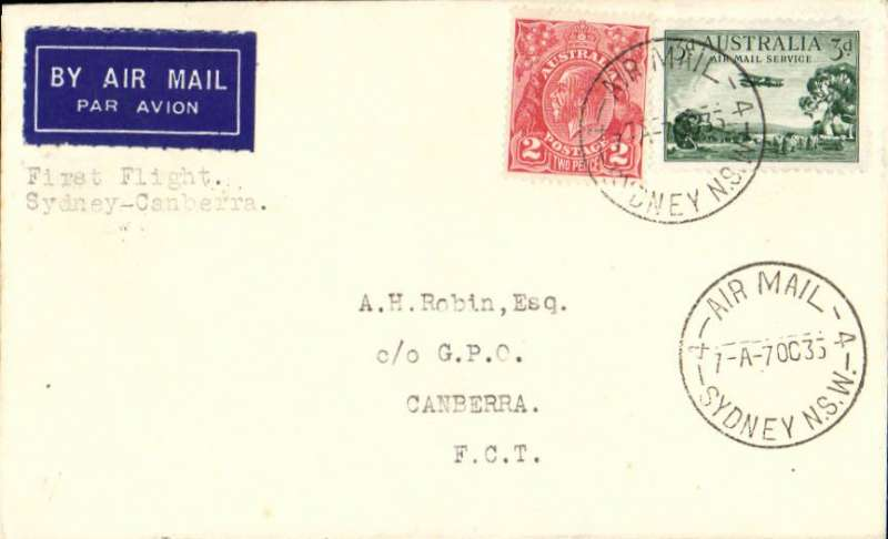 """(Australia) Holymans Airways Ltd, F/F Sydney to Canberra to Townsville, bs 7/10, plain cover franked  3d air + 2d, typed """"First Flight/ Sydney to Canberra""""."""