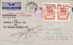 "(Tasmania) Holymans Airways Ltd, F/F Hobart to Townsville, bs 10/10, via Sydney, 7/10, attractive blue/grey imprint airmail etiquette cover addressed to EA Crome, franked  2dx2 and NSW 1d, typed ""First Flight/Hobart-Townsville/per Holymans Airways Ltd/and/New England Airways Ltd"", signed by pilots Taylor and Scott."
