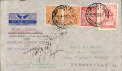 """(Australia) Holymans Airways Ltd, F/F Melbourne to Townsville, bs 10/10, via Sydney 7/10 and Brisbane 8/10, attractive blue/grey imprint airmail etiquette cover addressed to EA Crome, franked  5d, typed """"First Flight/Melbourne-Townsville/per Holymans Airways Ltd/and/New England Airways Ltd"""", signed by pilots Taylor and Scott."""