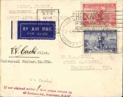 """(Australia) Ansett Airways Ltd F/F Fokker 'Universal' Melbourne to Hamilton, bs 25/5, airmail etiquette cover franked 3d air + 2d, canc Sydney 24/25 May, typed """"FirstFlight/Melbourne-Hamilton/Ansett Airways Ltd"""", signed by the pilot V.V.Cerche. This is a flight of significance because it launched the huge Ansett ANA network. Verso there is a large purple hs commemorating the 50th anniversary Ansett Airways and signed by E.A.Crome 1986."""