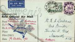 """(Australia) Holymans Airways Ltd, F/F Canberra to Melbourne, b/s, attractive and uncommon blue/black souvenir cover franked  3d air +9d Roo, red ms""""Canberra to Melbourne"""" ms, and red """"Sydney/Holyman's Airways Ltd"""" hs."""