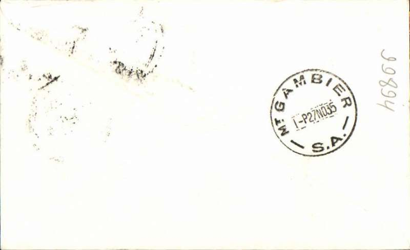 "(Australia) Adelaide Airways Ltd, F/F Melbourne to Mount Gambier, bs 27/11, airmail etiquette cover franked 5d, ms ""First Flight/Mount Gambier to Melbourne""."