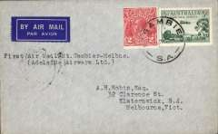"(Australia) Adelaide Airways Ltd, F/F Mount Gambier to Melbourne, bs 26/11, airmail etiquette cover franked 3d air +2d, typed ""First Air Mail Mount Gambier to Melbourne"". Small mail."