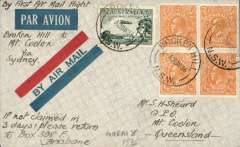 """(Australia) WASP Airlines, F/F Broken Hill to Mount Coolon, bs 4/4, via Sydney 28/3, imprint red/blue airmail etiquette cover franked 3d air +2d, ms 'By First Air Mail Flight/Broken Hill to Mt. Coolon via Sydney""""."""