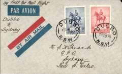 """(Australia) WASP Airlines, F/F Dubbo to Sydney, bs 28/3, imprint red/blue airmail etiquette cover franked 3d +2d, ms 'By First Air Mail Flight/Dubbo to Sydney""""."""
