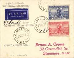 """(Australia) Ansett Airways Ltd F/F Fokker 'Universal' Hamilton to Melbourne, bs 25/5, airmail etiquette cover franked 3d + 2d, canc Hamilton 25/5, typed """"FirstFlight/Hamilton-Melbourne/Universal Fokker VH-UTO/Ansett Airways Ltd"""", signed by the pilot V.V.Cerche. This is a flight of significance because it launched the huge Ansett ANA network. Verso there is a large purple cachet contains the text """"Chief Pilot Staywood Airlines/Capt. Charles Frecheville"""" and bearing his facsimile signature. Above is the original signature of E.A.Crome 1986 - written on the 50th anniversary of Ansett Airlines."""