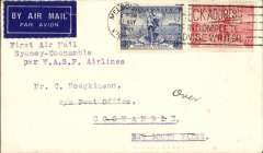 """(Australia) WASP Airlines Ltd, F/F Sydney to Coonamble, bs 28/5, inaugural introduction of Coonamble into the Broken Hill-Sydney service, plain airmail etiquette cover franked 5d, typed """"First Air Mail / Sydney to Coonamble/per WASP Airlines"""". Not easy to find."""