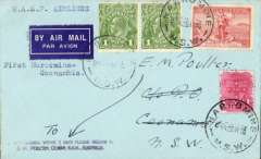 """(Australia) WASP Airlines Ltd, F/F Narromine to Coonamble, bs 28/5, inaugural introduction of Coonamble into the Broken Hill-Sydney service, plain airmail etiquette cover franked 5d, typed """"WASP Airlines/First Narromine-Coonamble"""". Not easy to find."""