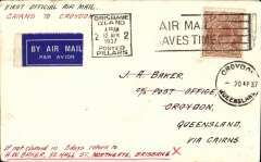 (Australia) North Queensland Airways Pty Ltd, F/F Cairns to Croydon, bs 13/4, airmail etiquette cover  franked 5d, canc Brisbane 12/4/37.