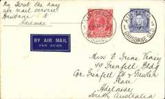 (Australia) Australian National Airways/Airlines of Australia Ltd, F/F Brisbane to Adelaide, airmail etiquette cover franked 5d.