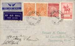 """(Australia) Fourth MacKay Aerial Mineral and Geological Survey of Central/NWAustralia. Signed flight cover, blue four line cachet """"Mackay Aerial/Reconnaisance Expedition/Norhtern Territory and/Western Australia/1937"""", addressed to EA Crome, franked 5d, canc Oodnadata 23 Aug 37, and bs Roy Hill 31/7 and Wave Hill 12/8, signed by pilots Frank Neale and Jim Pollock, and navigator Harry T Bennett. A detailed 12 page article by Graham on the covers of the Mackay Aerial Expeditions, including information on numbers flown, is included in this lot"""