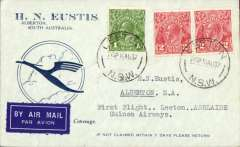 (Australia) Guinea Airways Lockheed Electra first airmail flight Leeton to Adelaide, bs 17/8, attractive Eustis airmail cover franked 5d.