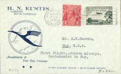 (Australia) Guinea Airways Lockheed Electra first airmail flight Cootamundra to Hay, bs 17/8, attractive Eustis airmail cover franked 5d. Scarce leg.