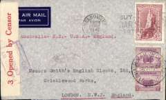 """(Australia) Wartime airmail, Pacific Clipper services up to the attack on Pearl Harbour, the 'air all the way' trans Pacific and trans Atlantic clipper service, Melbourne to London, faint 'Smith's Clock' private aarrival hs on front (date illegible), imprint etiquette corner cover franked 5/- robes and 5d x2d,  addressed to Messrs Smith's English Clocks Ltd, red typed """"Australia - New Zealand-USA-England"""", sealed red/white Australian 3 OBC censor tape, tied by violet boxed 'Passed By/Censor/V 70 (Melbourne) censor mark. Correctly rated for the two ocean clipper service to the UK, carried by TEAL to New Zealand, Pan Am FAM19 to San Francisco, then US internal air service to link with Pan Am FAM18 trans Atlantic service to Lisbon. This service opened on 3/7/40 when Italy entered the war on June 10th 1940 and closed the Mediterranean section of the long established Empire (Kangaroo) route through Europe and across the Indian Ocean. The Pacific Clipper service ceased after the Japanese attack on Pearl Harbour on 11/12/41."""