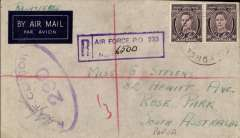 (Australia) Royal Australian Air Forces airmail, Goodenough air base (AFPO 233) to Papua, registered imprint etiquette airmail cover franked KGVI 3dx2, violet oval RAAF Censor 230.