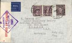 (Australia) Royal Australian Air Forces airmail, Aird Hill, Papua New Guinea (AFPO 233) to Sydney, registered imprint etiquette airmail cover franked 6d, sealed red/white Australia OBC censor tape tied by violet diamond '2/Passed/By/Censor/1650' censor mark.
